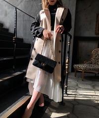 【pour Mademoiselle】パッチワークトレンチコート ベージュ/ブラック