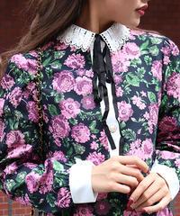 【pour Mademoiselle】レースカラーフラワージャガードワンピース ピンク