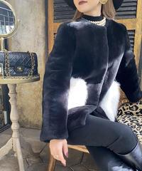 【pour Mademoiselle】フォックスファーポケットコート ブラック/ホワイト