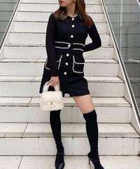 【pour Mademoiselle】ツイードパールノースリーブワンピース ブラック