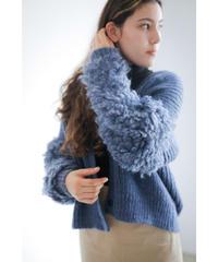 【10/30 20:00-release】loop handknit cardigan(blue)