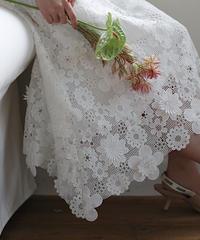 (original)フラワー刺繍スカート(ホワイト)