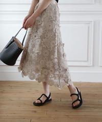 (original)フラワー刺繍スカート(ベージュ)