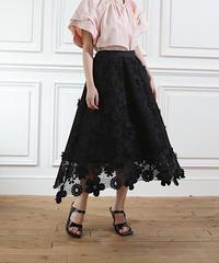 (original)フラワー刺繍スカート(ブラック)