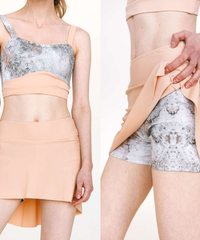 [Zidans] The Skirt + Shorts Stretch, stained in print | beige-delicate_dirt