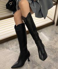 シンプルレザーロングブーツ