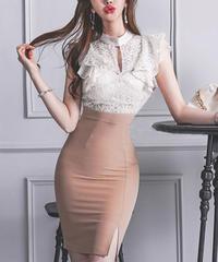 フロントオープンタイトドレス