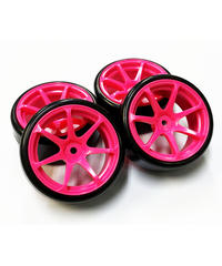 【HD-033PK】ホイルはめ込み済みドリフトタイヤ(AVS MODEL T7ホイル オフセット3 ピンク)