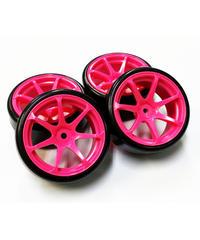 【HD-031PK】ホイルはめ込み済みドリフトタイヤ(AVS MODEL T7ホイル オフセット1 ピンク)
