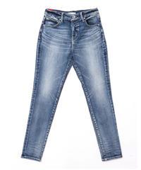 【美脚・スタイルアップ】Women Slim-fit Tapered Hyper Stretch Denim Jeans Mid Blue 19F-225