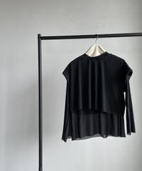 【&her】Sheer Layered Tops/BLACK