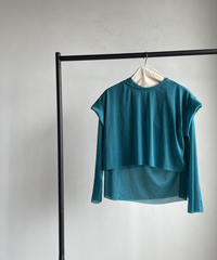 【&her】Sheer Layered Tops/PEACOCKBLUE