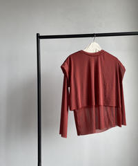 【&her】Sheer Layered Tops/RED