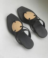 【_Fot】plywood oval sandels/BLACK