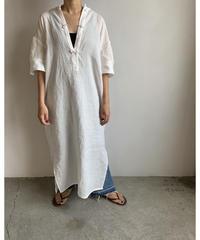 【&her】Linen China Shirts Dress/White