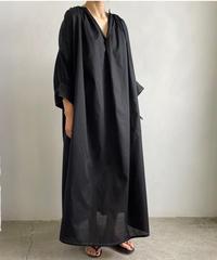 【&her】Gather Kaftan Dress/BLACK