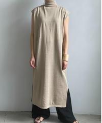 【&her】Cottonlinen Knit Dress/BEIGE