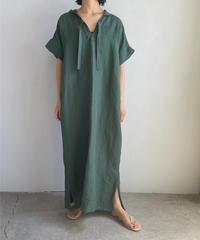 【&her】Rayon Linen Hoodie Dress/DARKGREEN