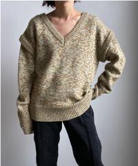 【&her】Melange Knit/GREENBROWN