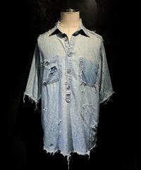 Vintage damage half denim shirt #2