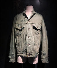 Damage dye denim jacket