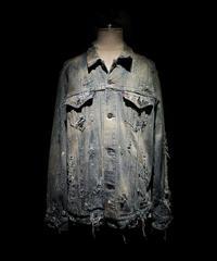 Vintage damage & paint stripe denim jacket