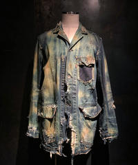 Damage vintage denim coverall