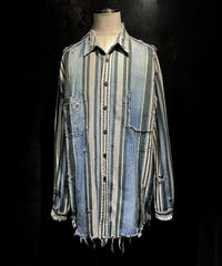 Vintage damage Stripe denim shirt #1