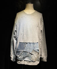 Denim pocket damage sweat shirt (GRAY)