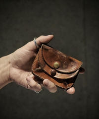 Italian shrink leather Coin Card case