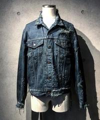 Dyed damage denim jacket