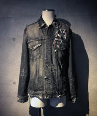 Damage black denim jacket