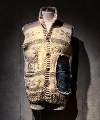 Different fabrics Sewn Cowichan knit Vest