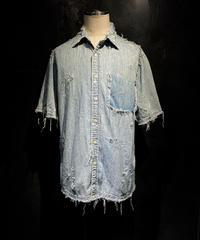 Vintage damage half denim shirt #1