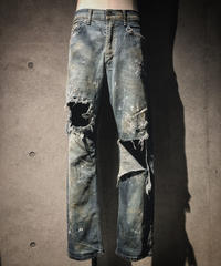Vintage hard damage denim pants