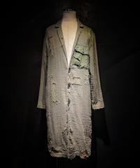 Vintage damage military linen long coat