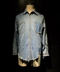 Damage vintage denim shirt #4