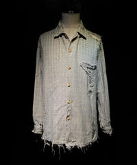 Damage linen check shirt