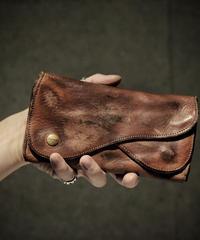 Italian shrink leather W flap Wallet