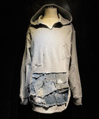 Denim pocket damage hoodie (GRAY)