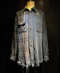 Vintage stripe × check damage shirt