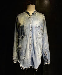 Damage no collar vintage Denim shirt