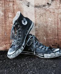 Discoloration Vintage High cut Sneaker Old BLACK
