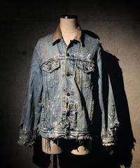 Corduroy collar hard damage denim jacket
