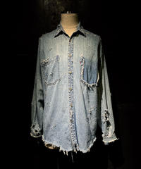 Damage vintage denim shirt #3