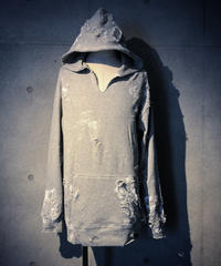 Hard damage & paint gray hoodie