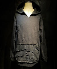 Denim pocket damage hoodie (BLACK)