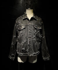 Vintage damage black denim jacket