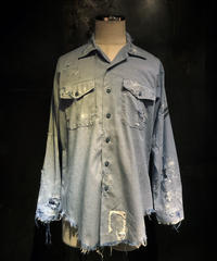 Damage chambray military shirt