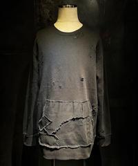 Denim pocket damage sweat shirt (BLACK)